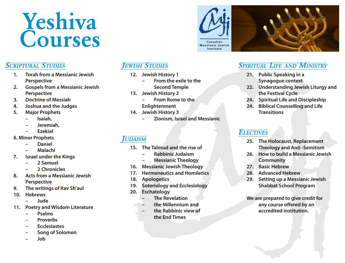 Beth Shechinah » CMJI Yeshiva List of Courses